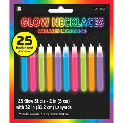 Dance Party Supplies (25 Neon Glow Party Stick Necklaces loot favor bag 80's 90's Black Light)