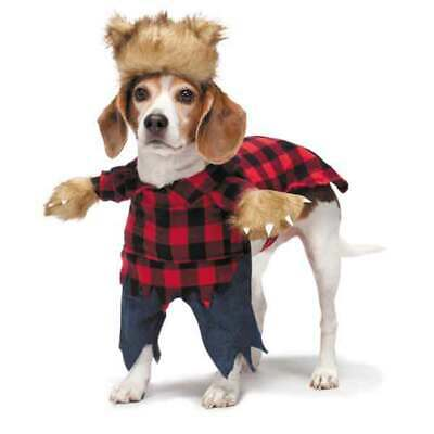 Dog Halloween Costume Scary Werewolf Fake Arms Red Plaid Shirt Pants Furry Beast - Scary Dog Costumes
