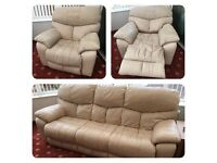 3 seater leather sofa & single electric recliner seat