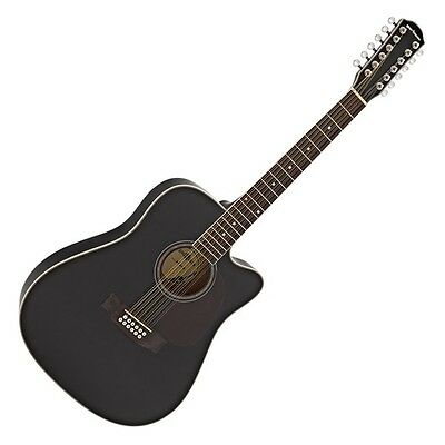 Dreadnought 12 String Acoustic Guitar by Gear4music Black