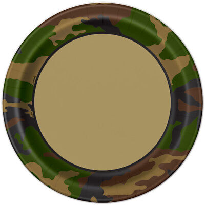 """MILITARY CAMO Camouflage Birthday Party Supplies Large 9"""" Dinner PLATES  (Military Birthday Supplies)"""