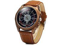Diniho 1123G Quartz Men's Watch Round Dial Leather Band Wristwatch