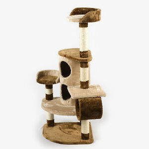 Purrshire Hide and Seek Cat Activity Centre Climber Kitten Toy Tree Post Beige