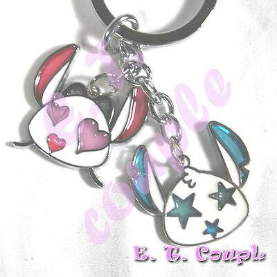 2PC stitch angel star adorable couple love heart cellphone strap Disney keychain ()