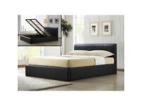 Double Leather Ottoman Storage Bed With Luxury Memorey Foam Orthopedic Mattress/ Single / King Size