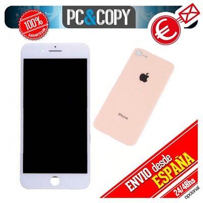 Pantalla LCD Blanca + Tapa Oro trasera batería iPhone 8 de 4,7...