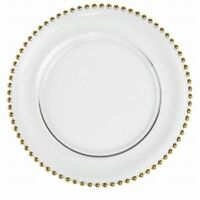 Gold beaded glass charger plates. $1.60 Rental