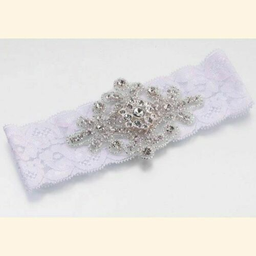 Jeweled White Bridal Garter, Crystals