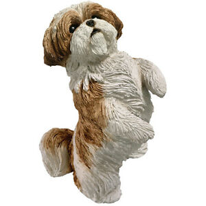 ✦╮ SANDICAST Dog Figurine Sculpture Shih Tzu Brown Tan Gold White Standing