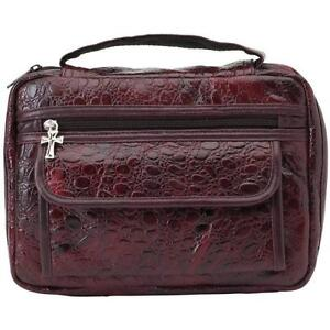 New Large Burgundy Leather Bible Cover Book Case Tote Holy Cross Zipper Pull