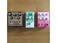 Guitar effects pedal Strymon Deco, EarthQuaker Devices Rainbow Machine and Arpanoid