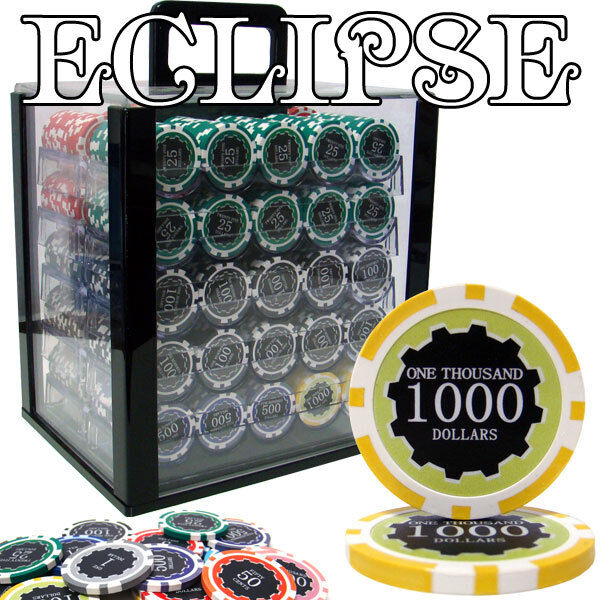 NEW 1000 PC Eclipse 14 Gram Clay Poker Chips Set Acrylic Carrier Case Pick Chips