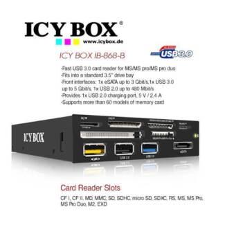 """IB-868-B: ICYBOX 3.5"""" USB 3.0 Muilti Card Reader, (1x USB 3.0 / 4"""