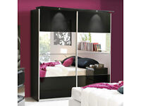 2 Door Sliding Wardrob Mirrored Shelves Hanging rails in Super High Gloss Finish- Brand New