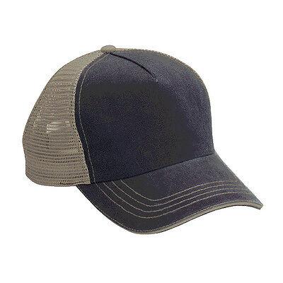 1 Dozen Wholesale 12 Blank Trucker Hats Blue/  Khaki Cotton / Mesh Adjustable  Blank Trucker Hats
