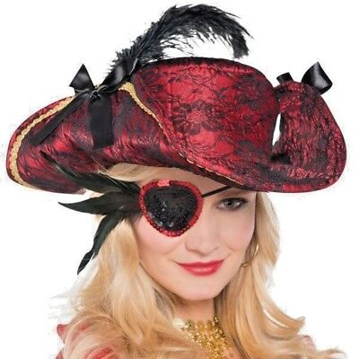Deluxe  Sequin Feather Eye Patch Pirate renaissance Halloween Costume  Free ship](Halloween Costume Deluxe)