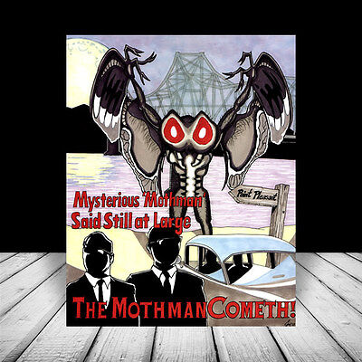 New THE MOTHMAN Point Pleasant West Virginia POSTER ART, scary prophecies wv ufo