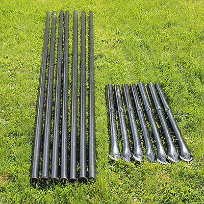 7pk. Steel Fence Posts Galvanized Black With Sleeves For 5 Animal Fencing
