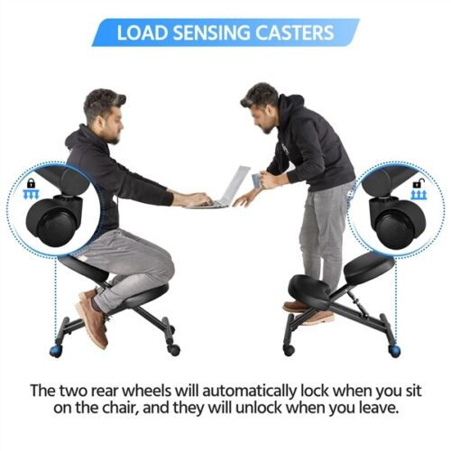 Adjustable Ergonomic Kneeling Chair Posture Chair Stool for Home Office Black 4