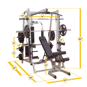 Body Solid Series 7 Smith Machine, Bench, and Olympic weights