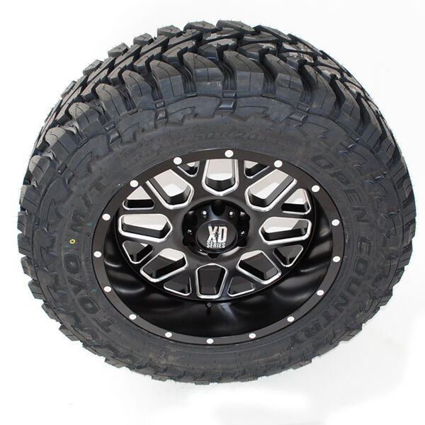 20x10 Xd 820 Grenade Matte Black Milled Toyo Mt 33x12.50r20 Wheels Tires