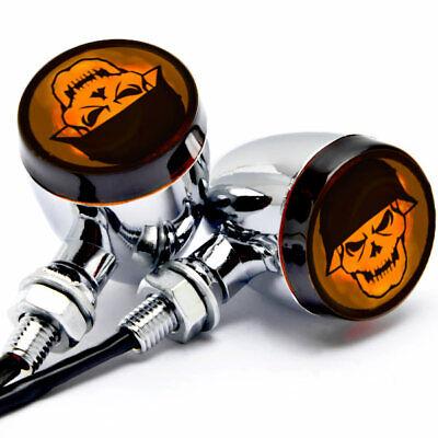 2pcs Skull Lens Chrome Motorcycle Turn Signals Bulb Indicators Blinkers Lights