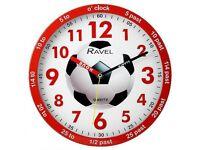 Boys Time Teacher Wall Clock Football New