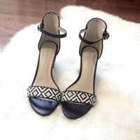 Zara Black and White Aztec Sandals
