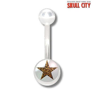 Acryl White Star (LEOPARD STAR WHITE NAVELSTUD - Bauchnabel Piercing - Schmuck Banane Stecker Leo)