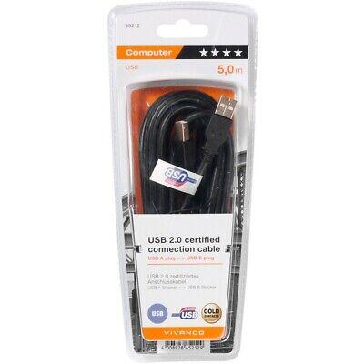 VIVANCO Câble Type A-B haut gamme certifié USB 2.0 noir 5 m Espon Canon HP Broth