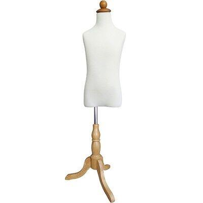Mn-285 White Childrens French Dress Form W Adjustable Wood Tripod Base Sz 7-9