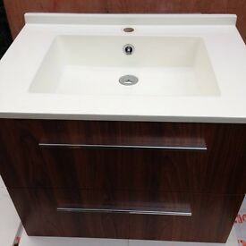 Bathroom wall hung vanity unit with sink
