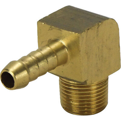 "Hose Tail 90 Degrees Brass 3/8"" BSB Male Thread With 3/8"" Tail for 10mm Hose"