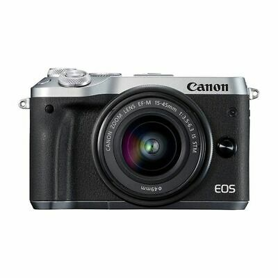 Near Mint! Canon EOS M6 15-45mm IS STM Silver - 1 year warranty