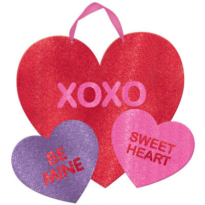 Glitter Love Candy Red  Hearts Mdf Hanging Tree Decoration  (Valentines Day Party)