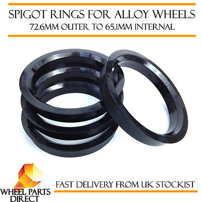 Spigot Rings (4) 72.6mm to 65.1mm Spacers Hub for VW Transporter T5 03-15