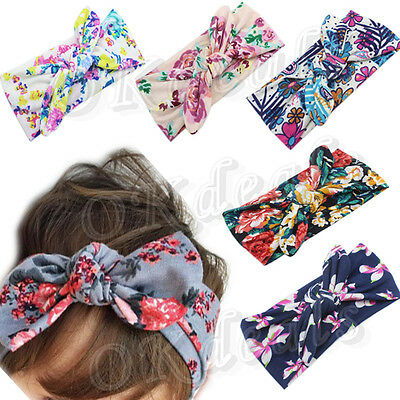Baby Kids Girl  Infant Flower Bow Hairband Turban Knot Rabbit Headband Headwear
