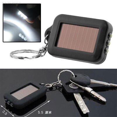 5300 965B Mini Solar Power 3LED Light Keychain Torch Flashlight Key Ring Useful