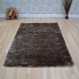 "65x135cm (4'6""x2'2"") brown shaggy rug"