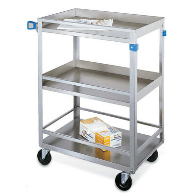 Standard Duty Stainless Steel Carts 3 Shelves With Guard Rails 27.5l X 16....