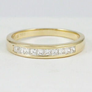 14k Yellow Gold princess diamond band(10 dia,0.30ct tdw)#1909