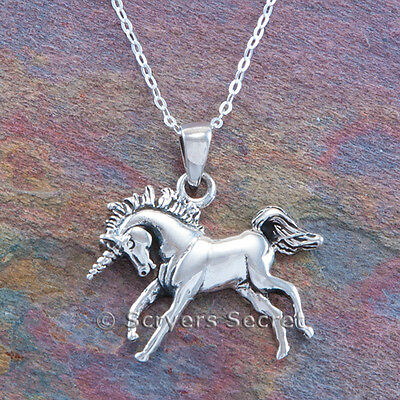 MYTHICAL UNICORN Horse charm Pendant 925 Sterling Silver prancing 18