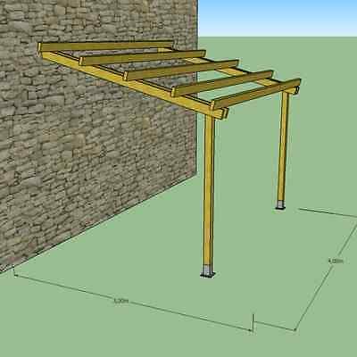 Pergola in legno 4x3 addossata a parete, pensilina pompeiana per esterni