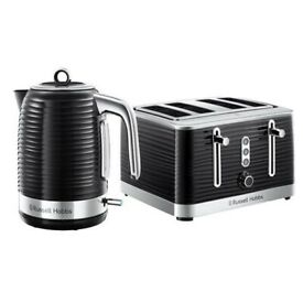 Black Russell Hobbs four piece toaster and kettle