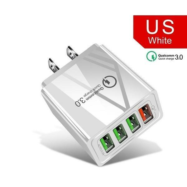 White 4 Port Fast Quick Charge Wall Charger Power Adapter Pl