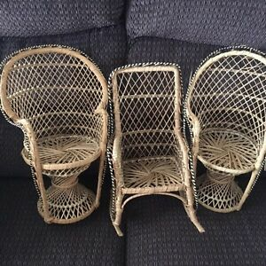 3 wicker chairs for sale.
