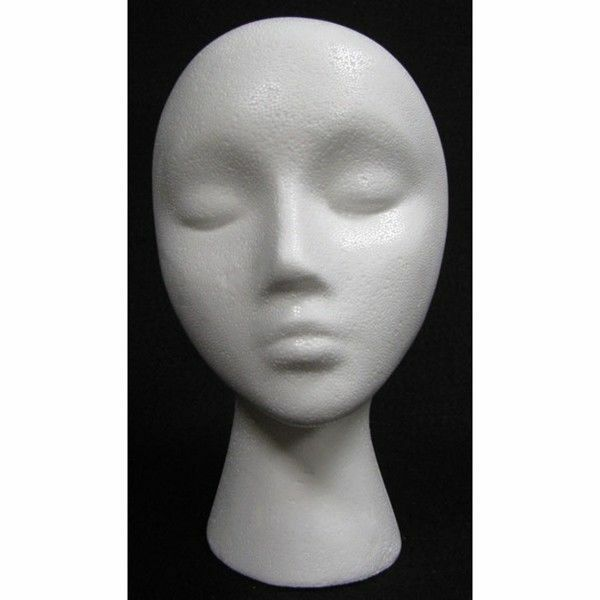 FOAM HEAD FEMALE STYROFOAM MANNEQUIN WIG HAT DISPLAY HOLDER WHITE