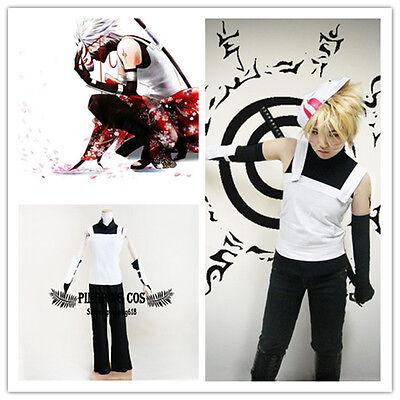 Naruto Anbu Hatake Kakashi Cosplay Costumes Suit Set Black + White S M L XL