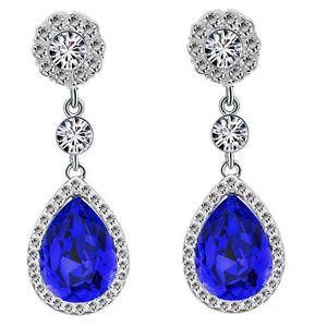 Luxury Diamond Shine Rhinestone Dark Royal Blue Long Drop Stud Earrings E866