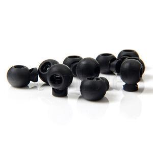 10pcs Mini Round Ball Cord lock Toggles Stops Black Drawstring Rope Cord Locks
